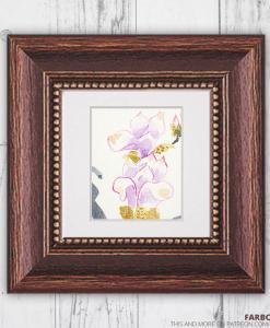 Miniatur Aquarell Tiny Artwork Magnolie Gerahmt